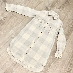 WILFRED FREE LONG FLANNEL DRESS SHIRT OFF WHITE xs